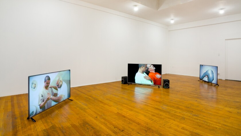 Installation view of Kenneth Tam's videos, on view at Commonwealth & Council.