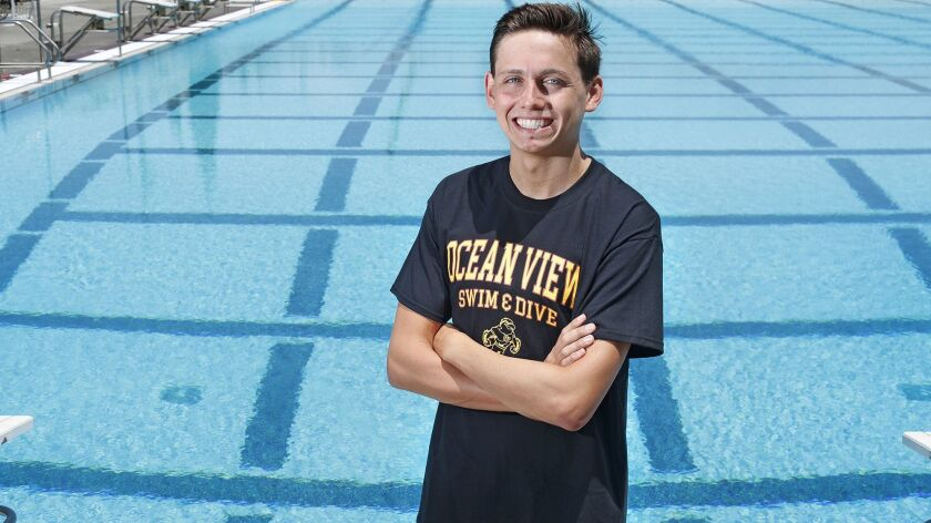 Ocean View High junior swimmer Dominic Falcon won the 200- and 500-yard freestyle events at the CIF Southern Section Division 4 finals, and has helped the Seahawks boys win three straight Golden West League titles.