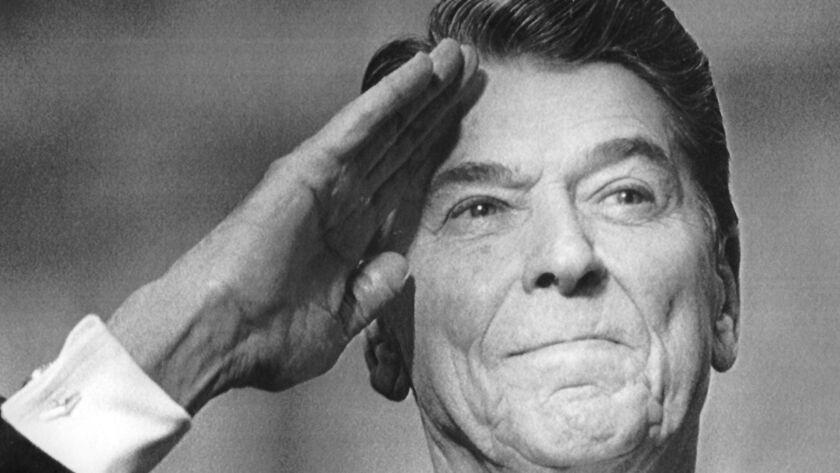 NA.0210.Reagan37––Washington, D.C.––President Ronald Reagan giving a final salute during military ce