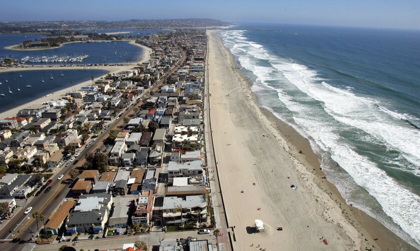 An aerial view of Mission Beach.