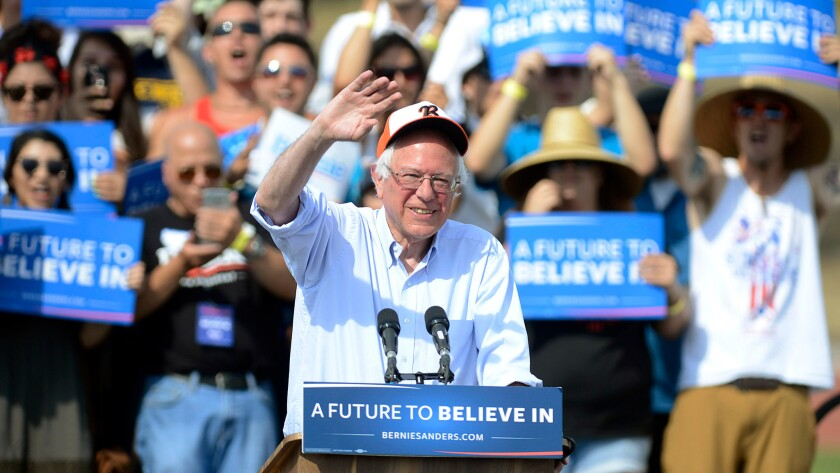 Sen. Bernie Sanders speaks at Visalia Community Stadium at Golden West High School in Visalia, Calif., on Sunday.