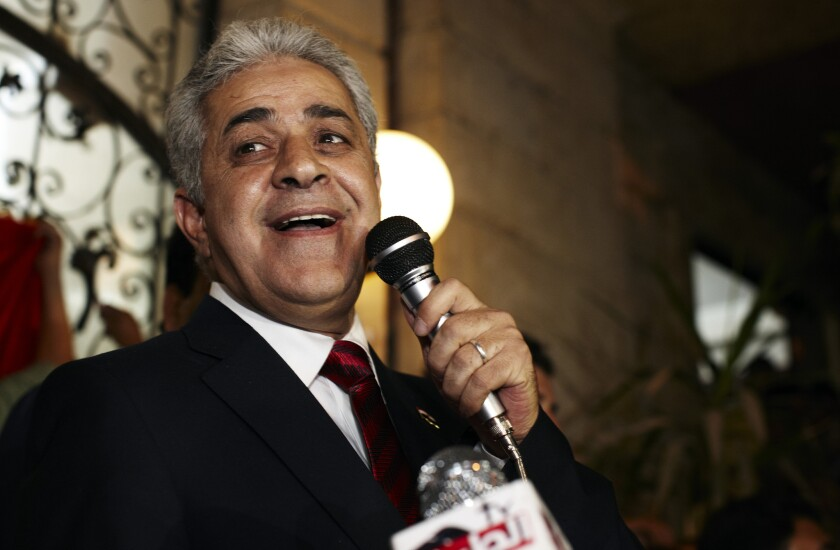 In May 2012, Egyptian presidential candidate Hamdeen Sabahi comments on election results at a news conference in Cairo. On Saturday, he announced another bid for the presidency in an election scheduled for April.