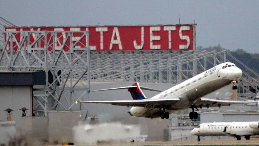 A Delta Airlines jet departs Hartsfield-Jackson Atlanta International Airport in 2008.