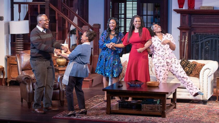 "Danny Johnson, Cherene Snow, Ramona Keller, Zakiya Young and Olivia Washington (from left) in the Old Globe Theatre's ""Familiar."""