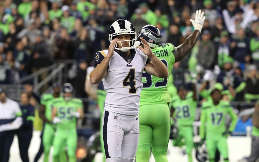 Rams kicker Greg Zuerlein reacts after missing a 44-yard field-goal attempt in the final seconds of a 30-29 loss to the Seattle Seahawks on Thursday.