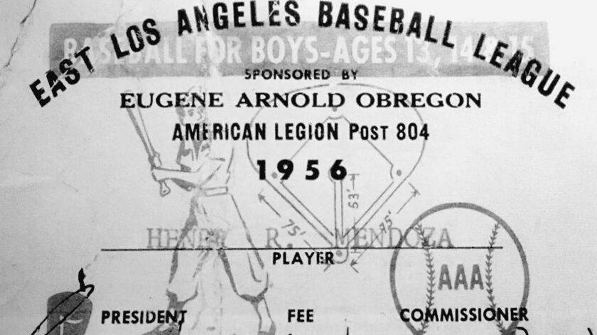 An East Los Angeles Baseball League card from 1956