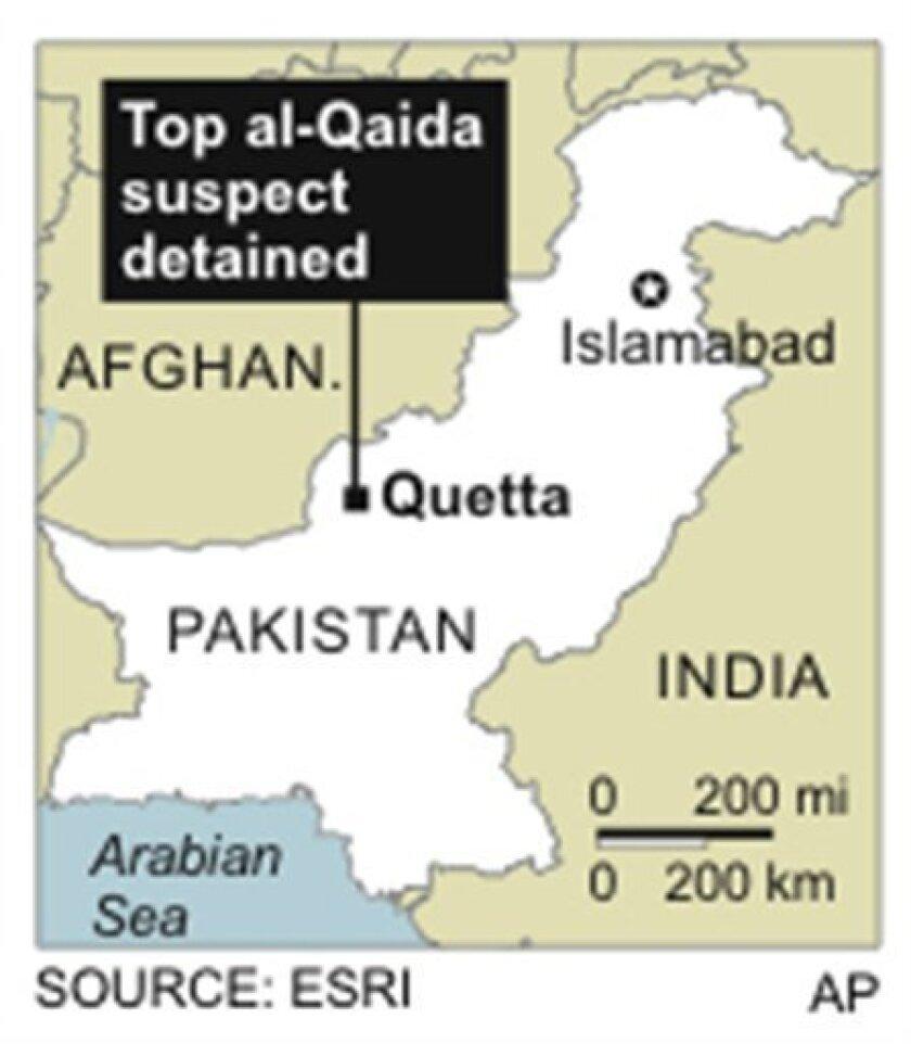 Map locates Quetta, Afghanistan, where a senior al-Qaida leader has been detained