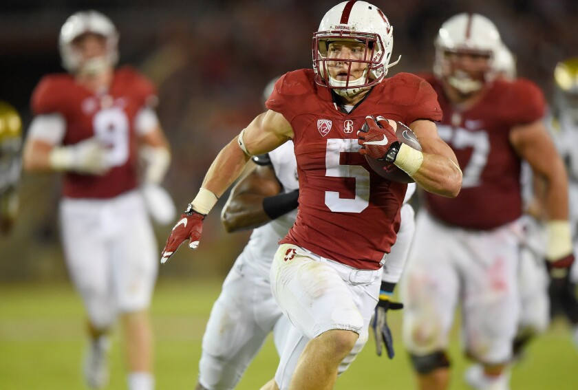 Christian McCaffrey breaks into the clear on a touchdown run against UCLA during a Pac-12 game on Oct. 15.