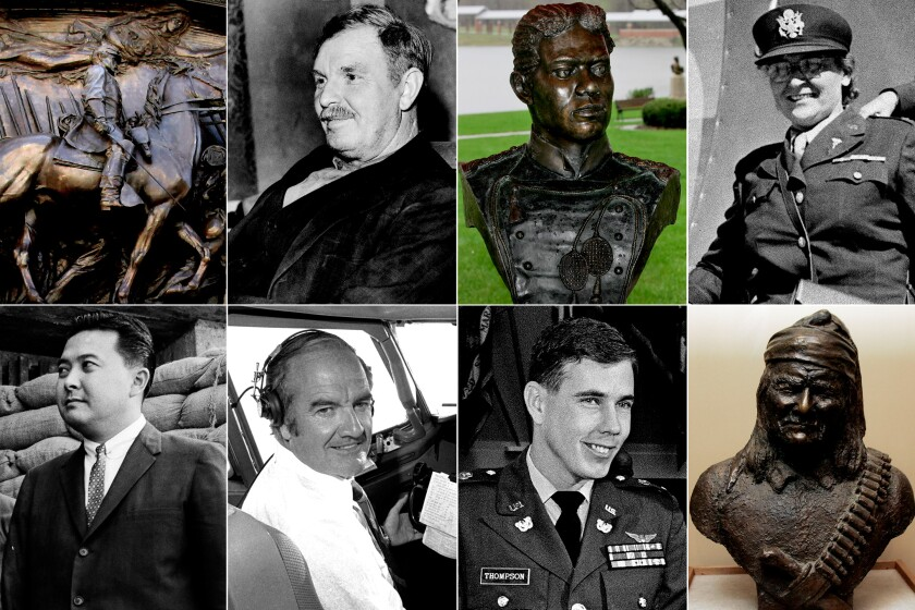 Images: Robert Shaw; Alvin York; Henry Flipper; Josephine Nesbit; Daniel Inouye; George McGovern; Hugh Thompson; Geronimo