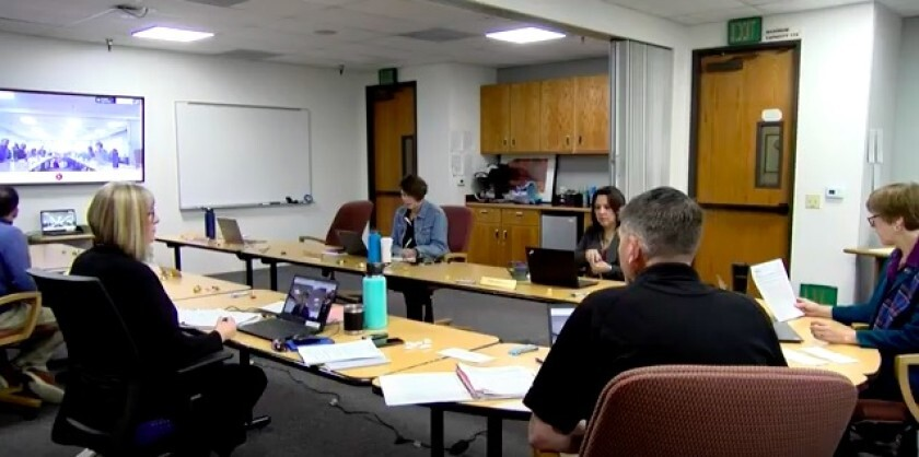 The San Dieguito Union High School District board live streams their board meeting on March 19.