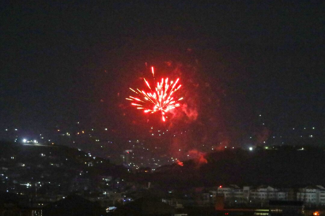 Celebratory gunfires light up part of the night sky after the last US aircraft took off from the airport in Kabul