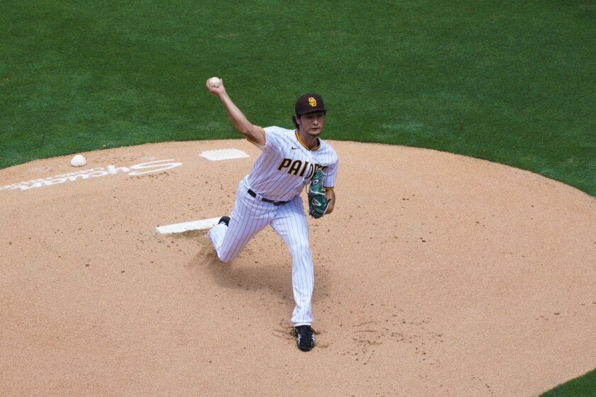 Padres pitcher Yu Darvish throws in Thursday's opener at Petco Park.