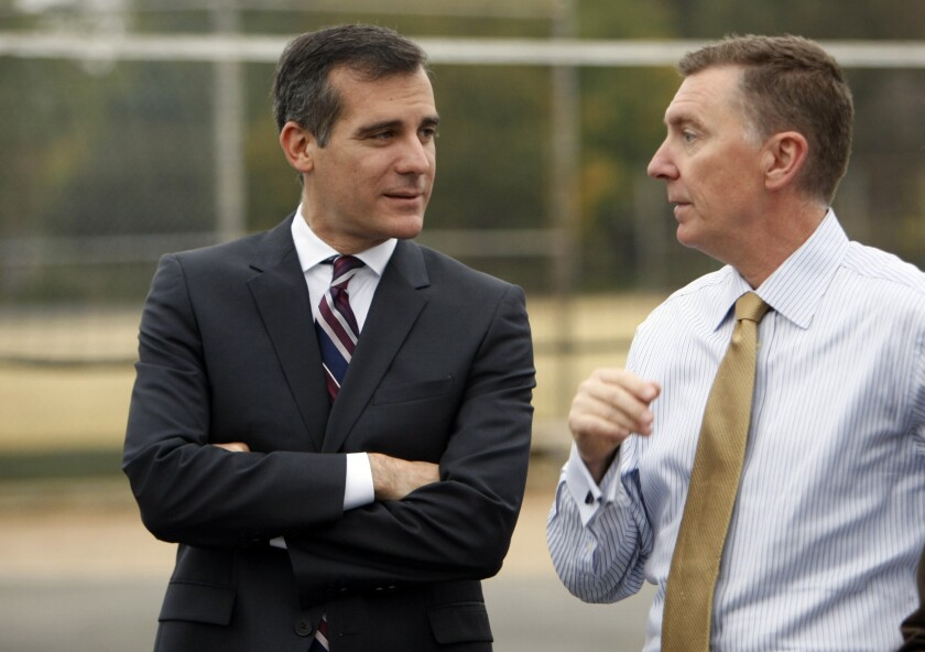 Mayor Eric Garcetti, left, and Los Angeles Unified School District Superintendent John Deasy on Thursday.