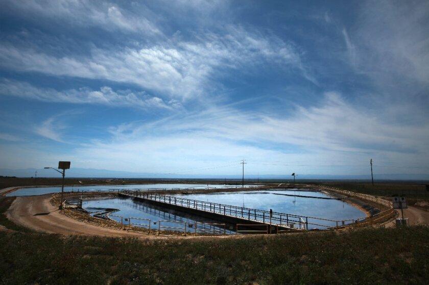 Oil field wastewater in treatment pond near Bakersfield