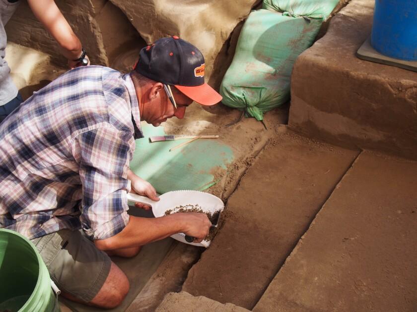 Excavator at Cooper's Ferry site