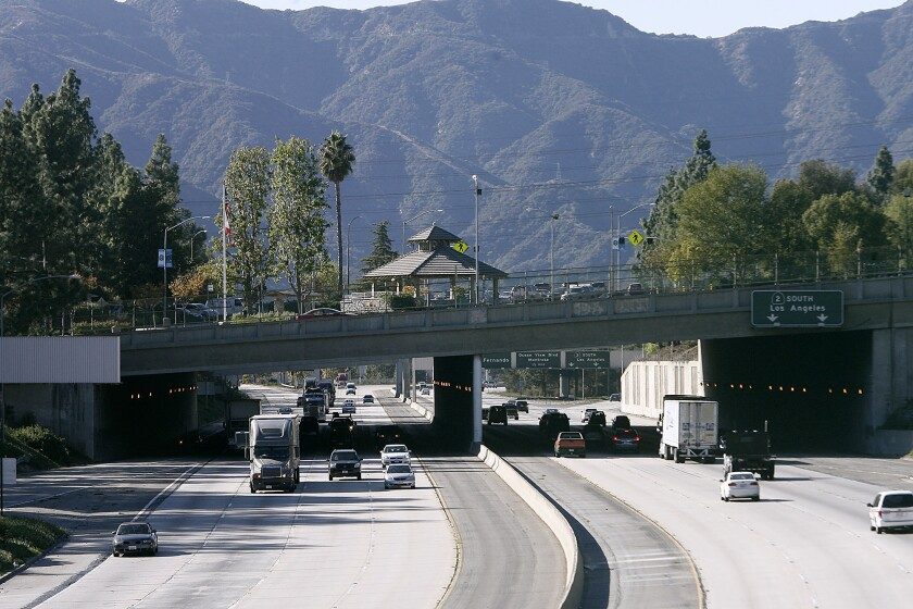 Looking north, the Foothill Blvd. overpass is seen over the Foothill (210) Freeway, which cuts through La Cañada Flintridge.