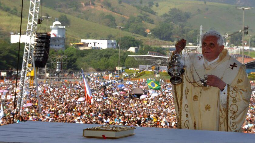 Pope Benedict XVI celebrates an open-air