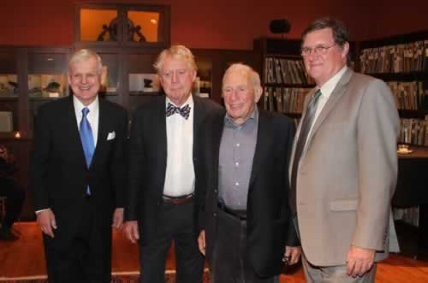 Dick Davis, executive director of the Kyoto Symposium Organization; Athenaeum Board President Max Elliott; Scripps oceanographer and 1999 Kyoto Prize recipient Walter Munk; and SDSU Vice President for Research Stephen Welter Photos by Pat Sherman