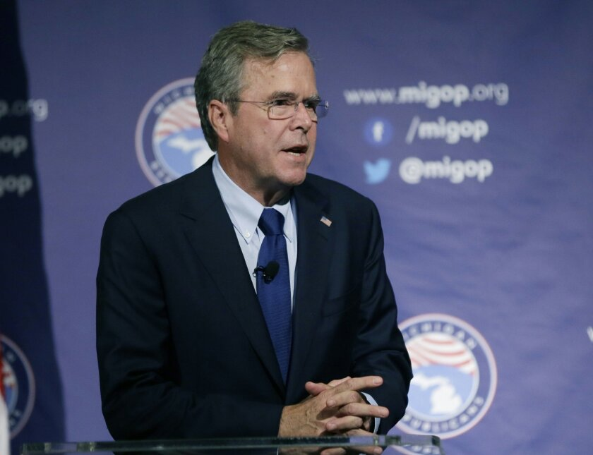 FILE - In this Sept. 18, 2015 file photo, Republican presidential candidate, former Florida Gov. Jeb Bush speaks in Mackinac Island, Mich. Bush is pushing back against pro-immigrant protesters reminding them that he's for a pathway to citizenship for children of people in the U.S. illegally. (AP Photo/Carlos Osorio, File)