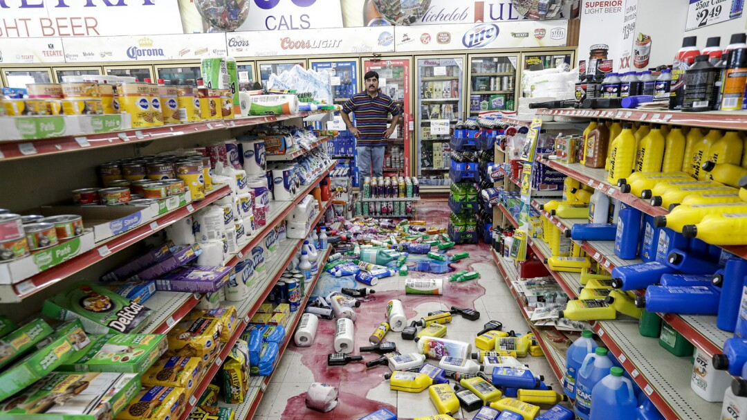 Javaid Waseem, owner of Minit Gas Station and store on Ridgecrest Boulevard, after the second of two quakes in July.
