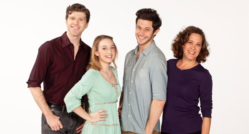 "Will Reynolds, Ephie Aardema, Kyle Harris and Karen Ziemba (left to right) star in the Old Globe's world-premiere musical ""A Room With a View."""