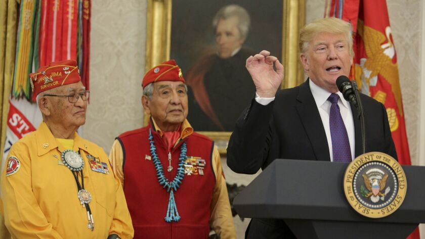 "President Trump speaks at a 2017 event honoring the Native American code talkers of World War II. Unbelievably, he hauled out the ""Pocahontas"" slur during the ceremony."
