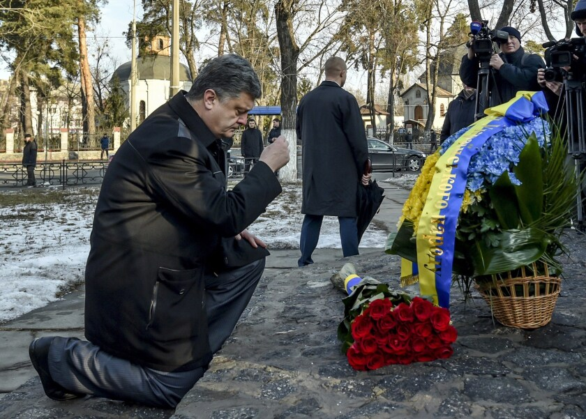 Ukrainian President Petro Poroshenko at a Dec. 14 memorial honoring those who lost their lives trying to contain the world's worst nuclear accident at Chernobyl, Ukraine, in 1986.