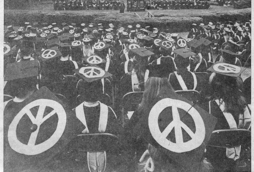 Anti-war protests were part of 1970 graduation ceremonies.