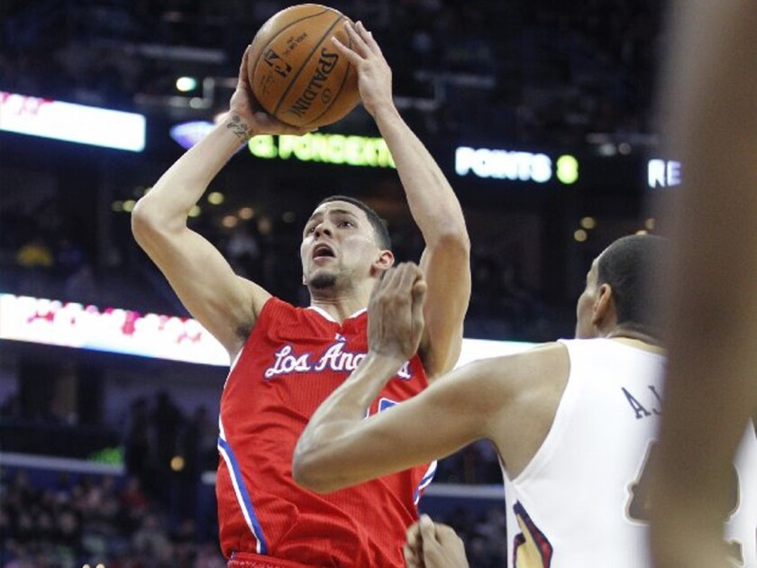 Clippers guard Austin Rivers shoots in the lane during the second half. Rivers scored 10 points in his return to new Orleans after being traded earlier this month.