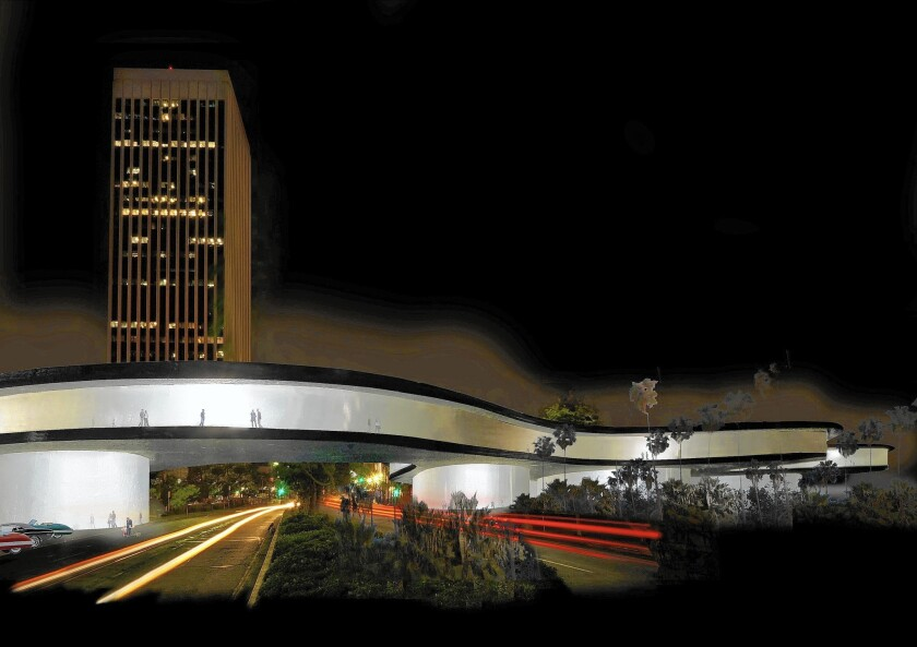 Peter Zumthor's proposed redesign for LACMA, facing west at night.