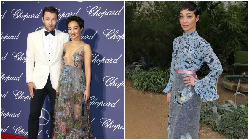 Joel Edgerton and Ruth Negga in Valentino, left, and Ruth Negga in Erdem, right.