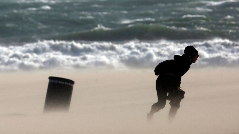 Powerful winds whipped Los Angeles and Ventura counties on Friday and were expected to continue into Saturday.