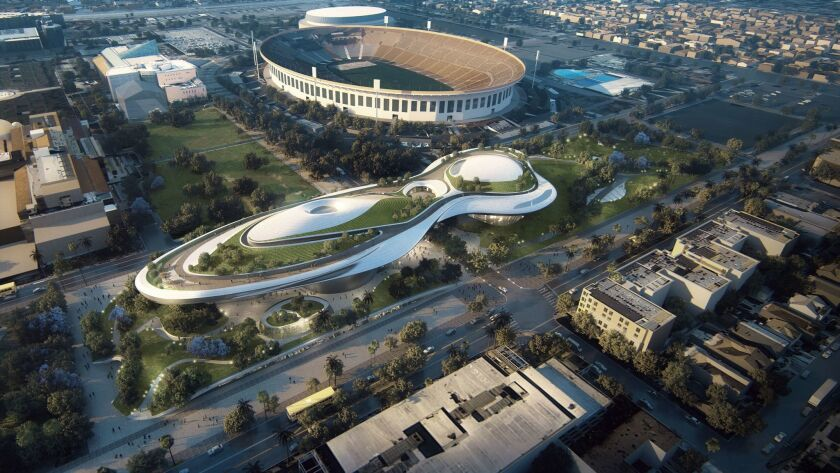 An early artist's rendering of the George Lucas Museum of Narrative Art, being built in Exposition Park.