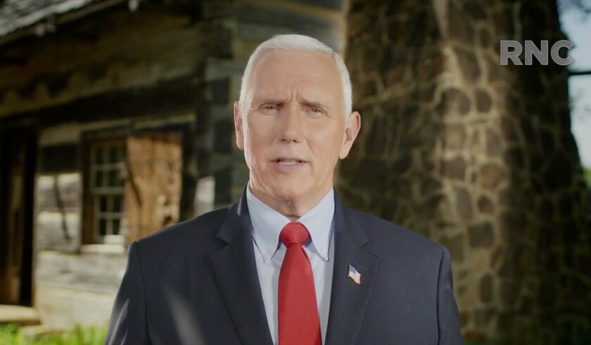 Vice President Mike Pence addresses the Republican National Convention on Tuesday.