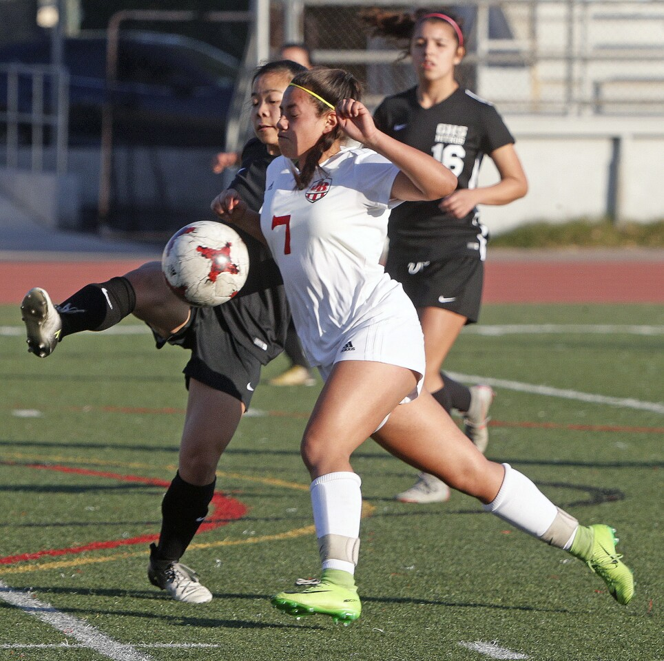 Photo Gallery: Glendale vs. Burroughs in Pacific League girls' soccer