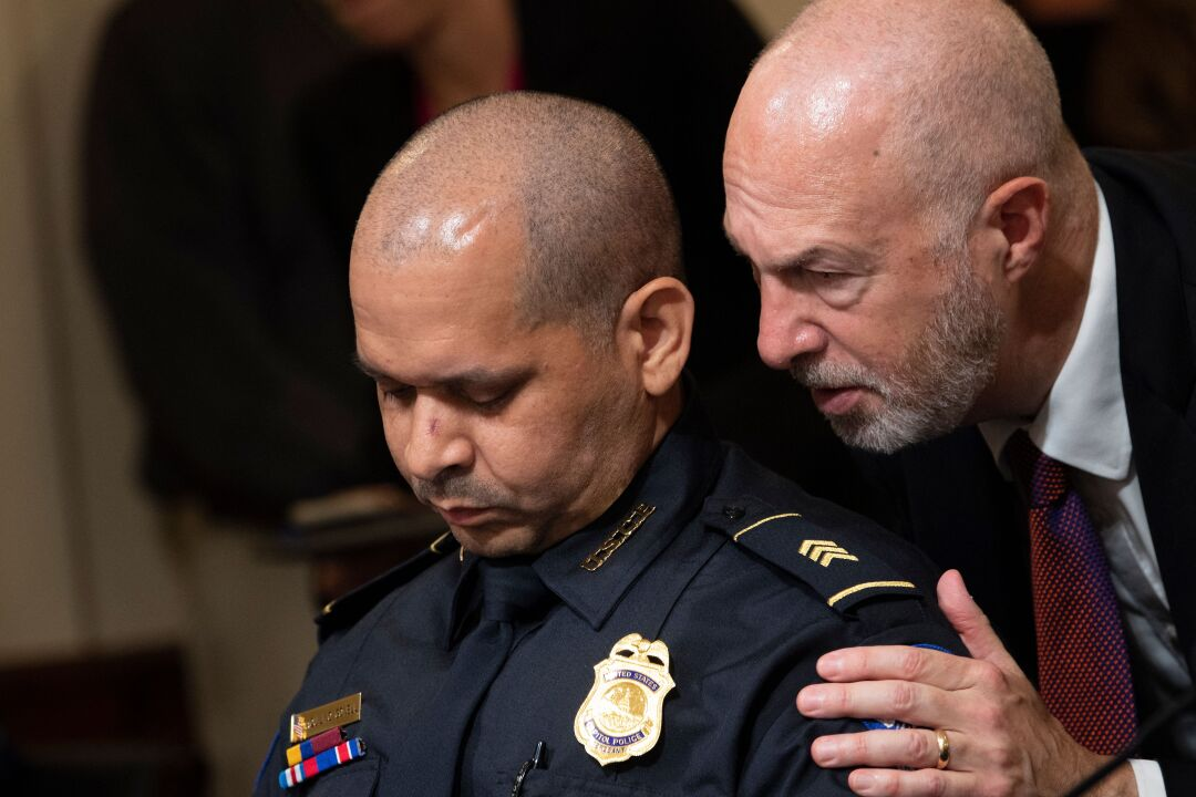 Sgt. Aquilino Gonell pauses after opening statement.