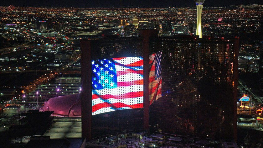 A massive new LED screen at Resorts World on the Fourth of July.