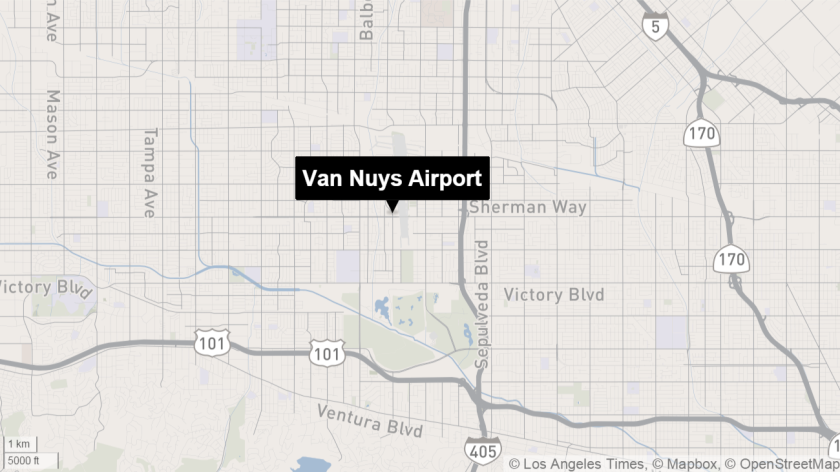Map shows approximate location of Van Nuys Airport.