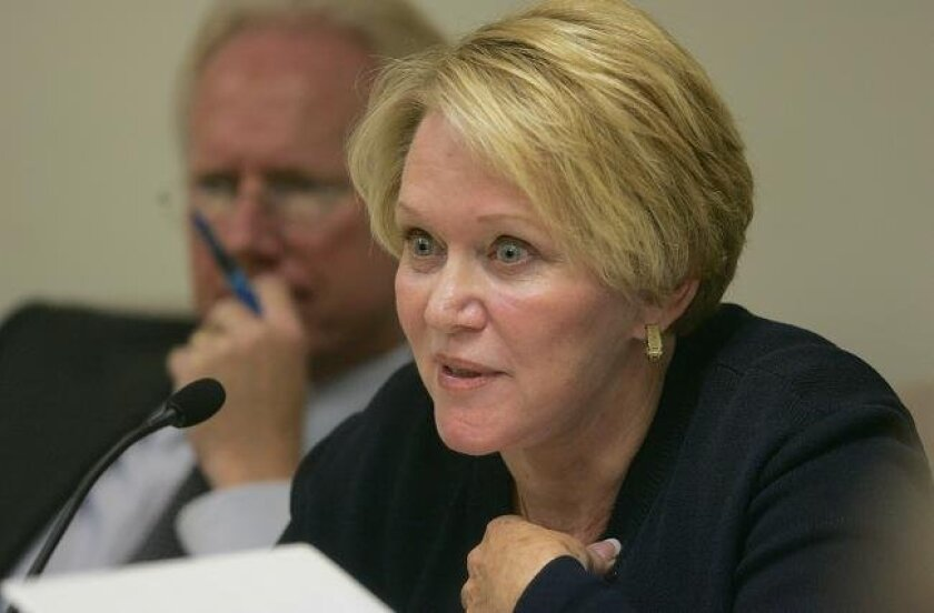 Nancy Graham, former president of the Centre City Development Corporation testifies before the City of San Diego Ethics Commission on Thursday, May 20, 2010. She is accused of failing to reveal conflicts of interest during her three-year stint at the CCDC.