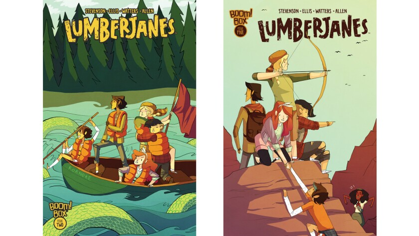 """The covers for """"Lumberjanes"""" No. 2 and No. 5. The Boom! Box comics won an Eisner Award for best new series."""