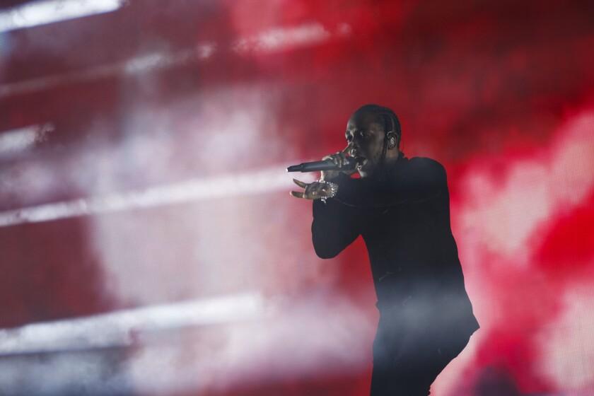Kendrick Lamar during Coachella in 2017.