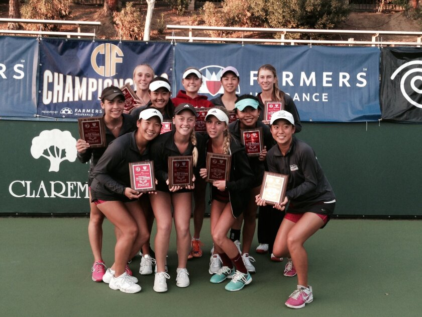 The Torrey Pines girls tennis team placed second in the CIF USTA Southern California Girls Tennis Championships. Back (L-R): Nicole Beachboard, Tasia Mochernak, CC Schwab and Jessica Walker. Middle row: Alexa Meyer, Hannah Zhao and Michelle Hao. Front row: Kelsey Chen Agostina Waisfeld, Sofie Beachboard and Kathy Wang.