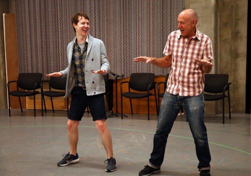 "Actor David Turner and director Ron Lagomarsino rehearse a scene from the Old Globe Theatre's ""Buyer & Cellar."""