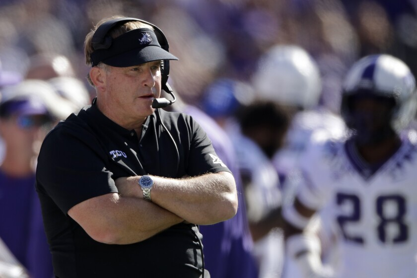 TCU coach Gary Patterson watches from the sideline