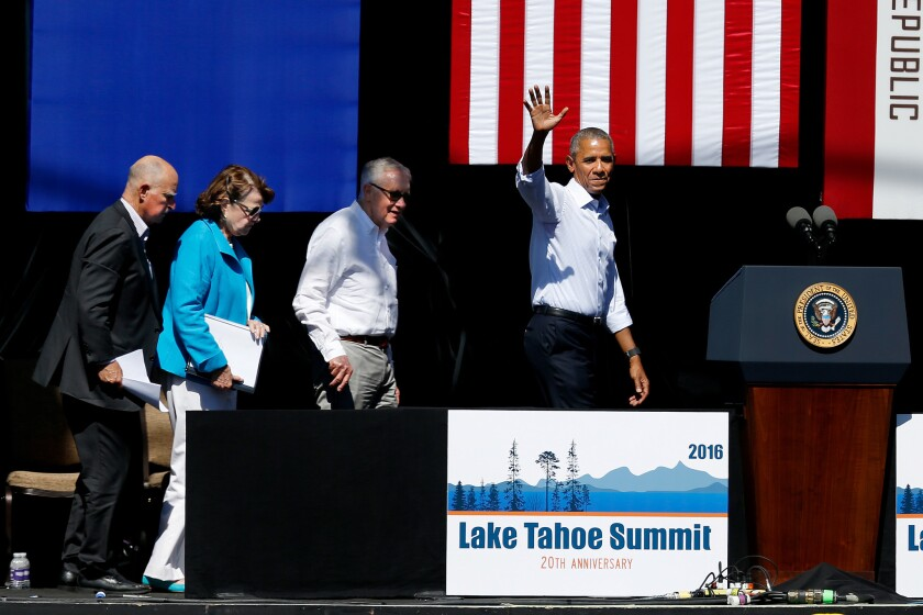 Gov. Jerry Brown, left to right, U.S. Sen. Dianne Feinstein, U.S. Sen. Harry Reid and President Barack Obama leave the stage at the 20th annual Lake Tahoe Summit in Lake Tahoe, Nev.