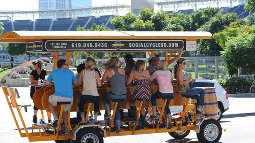 The Social Cycle offers 16-passenger group tour bikes in San Diego
