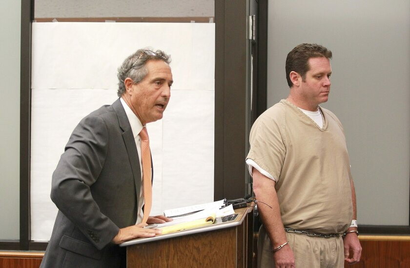Defense attorney David Baker, left, spoke on behalf of his client Jason Boone before sentencing.