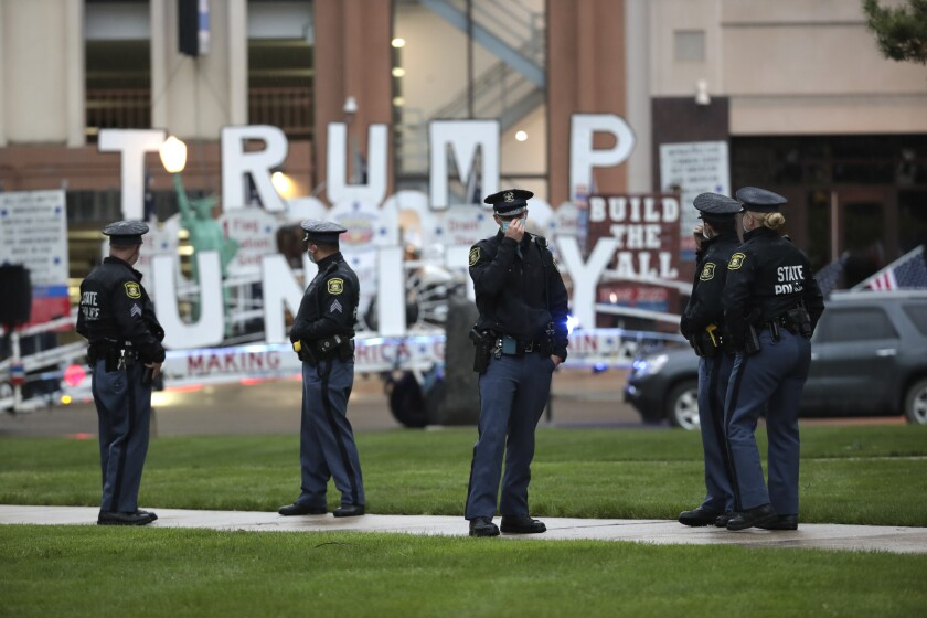 Michigan State Police patrol during a protest at the Capitol