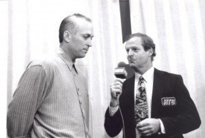 Mel Proctor interviews Cal Ripken before he broke Lou Gehrig's consecutive games mark in 1996.
