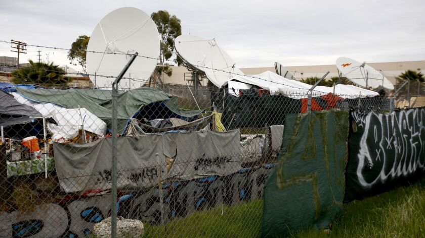 CHATSWORTH, CA MARCH 1, 2019: A homeless encampment rests between large satellite dishes and a was